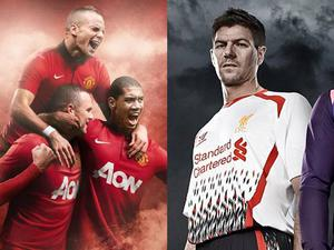 A view of Manchester United's new home kit and Liverpool's new away kit WARRIOR / NIKE