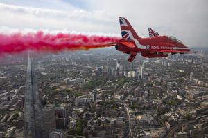 The Shard can be seen under one of the Red Arrows (SAC Hannah Smoker/MoD/Crown Copyright/PA)
