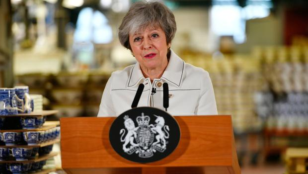 Prime Minister Theresa May making a speech during a visit to the Portmeirion pottery factory in Stoke-on-Trent.  Ben Birchall/PA Wire