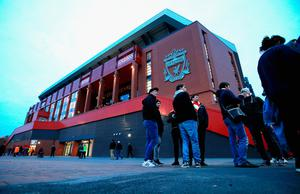 General view outside the stadium prior to kick off during the EFL Cup fourth round match between Liverpool and Tottenham Hotspur at Anfield on October 25, 2016 in Liverpool, England.  (Photo by Jan Kruger/Getty Images)