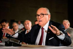 """NEW YORK, NY - SEPTEMBER 08:  Former Mayor of New York City Rudy Giuliani testifies at a U.S. House of Representatives Committee on Homeland Security hearing at the National September 11 Memorial and Museum on September 8, 2015 in New York City. The hearing, titled """"Beyond Bin Laden's Caves and Couriers to a New Generation of Terrorists: Confronting the Challenges in a Post 9/11 World,"""" focused on global Islamic extremism, cyber security and the President Obama's Iran deal.  (Photo by Andrew Burton/Getty Images)"""