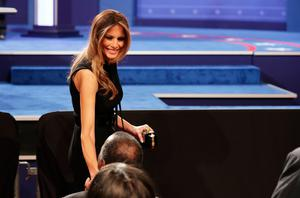 LAS VEGAS, NV - OCTOBER 19:  Melania Trump arrives before the start of the third U.S. presidential debate at the Thomas & Mack Center on October 19, 2016 in Las Vegas, Nevada. Tonight is the final debate ahead of Election Day on November 8.  (Photo by Chip Somodevilla/Getty Images)