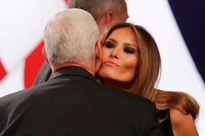 LAS VEGAS, NV - OCTOBER 19:  Melania Trump is greeted by Republican vice presidential nominee Mike Pence before the start of the third U.S. presidential debate at the Thomas & Mack Center on October 19, 2016 in Las Vegas, Nevada. Tonight is the final debate ahead of Election Day on November 8.  (Photo by Chip Somodevilla/Getty Images)