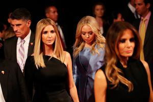 LAS VEGAS, NV - OCTOBER 19:  (L-R) Ivanka Trump, Tiffany Trump and Malania Trump arrive before the start of the third U.S. presidential debate at the Thomas & Mack Center on October 19, 2016 in Las Vegas, Nevada. Tonight is the final debate ahead of Election Day on November 8.  (Photo by Drew Angerer/Getty Images)