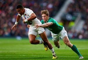 LONDON, ENGLAND - FEBRUARY 27:  Anthony Watson of England takes on Andrew Trimble of Ireland during the RBS Six Nations match between England and Ireland at Twickenham Stadium on February 27, 2016 in London, England.  (Photo by Michael Steele/Getty Images)