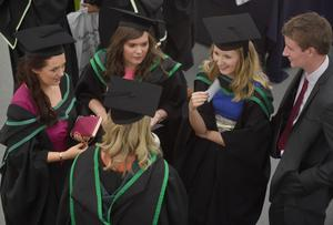 Ulster University Graduations-Coleraine Capmpus-05-07-15 Graduates catch up with each other before the ceremony. Photo by Simon Graham/Harrison Photography