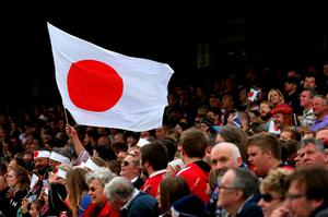 Japan fans in the stands before the Rugby World Cup match at the Kingsholm Stadium, Gloucester. Picture date: Wednesday September 23, 2015. See PA story RUGBYU Scotland. Photo credit should read: David Davies/PA Wire. RESTRICTIONS: Editorial use only. Strictly no commercial use or association without RWCL permission. Still image use only. Use implies acceptance of Section 6 of RWC 2015 T&Cs at:http://bit.ly/1MPElTL Call +44 (0)1158 447447 for further info.
