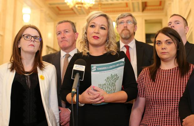 Talks continue at Stormont in east Belfast between the British and Irish governments along with the Assembly parties who were elected in the recent election.  Sinn Fein's Stormont leader Michelle O'Neill(centre) leads her party into the Great Hall at Parliament Buildings to speak to the media.  Picture by Jonathan Porter/PressEye.com
