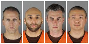 Derek Chauvin, J. Alexander Kueng, Thomas Lane and Tou Thao have been charged after the incident involving George Floyd (Hennepin County Sheriff's Office/AP)
