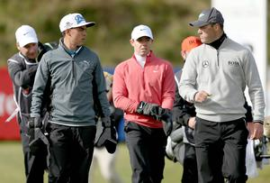 Round 1 of the 2015 Dubai Duty Free Irish Open at Royal County Down Golf Club, Newcastle, Northern Ireland.  Martin Kaymer, Rickie Fowler and Rory McIlroy.