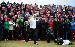 NEWCASTLE, NORTHERN IRELAND - MAY 29:  Rory McIlroy of Northern Ireland celebrates his frist birdie of the week on the 7th hole during the Second Round of the Dubai Duty Free Irish Open Hosted by the Rory Foundation at Royal County Down Golf Club on May 29, 2015 in Newcastle, Northern Ireland.  (Photo by Ross Kinnaird/Getty Images)