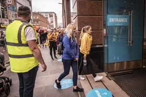 Shoppers queue as Primark in Belfast city centre reopens on June 18th 2020 (Photo by Kevin Scott for Belfast Telegraph)