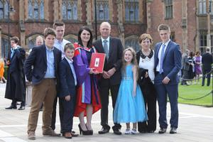 The Rice family from Attical celebrate mum Annes graduation at Queens University. Anne received a PhD from Queens School of Planning, Architecture and Civil Engineering. Helping her celebrate are sons John, James, Stephen, husband Michael, daughter Eilish, Annes mother Eileen McAleenan and son Michael.  Photo/Paul McErlane