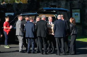 The coffin of Munster Rugby head coach Anthony Foley is brought to repose in St. Flannan's Church, Killaloe in Co Clare, ahead off his funeral tomorrow. PRESS ASSOCIATION Photo. Picture date: Thursday October 20, 2016. See PA story DEATH Foley. Photo credit should read: Niall Carson/PA Wire