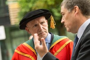 Reverend Bill Shaw received the honorary degree of Doctor of Laws (LLD) for distinguished services to the community. Pictured here, Bill chats with Professor Ian Montgomery, Dean of Faculty of Art, Design and the Built Environment.  (Photo: Nigel McDowell/Ulster University)
