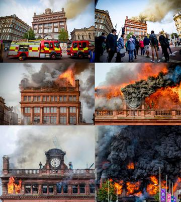 Compsite showing the fire from 11:06 am to 4:35 pm   Firefighters deal with a major blaze at Primark in Belfast on August 28th 2018 (Photo by Kevin Scott for Belfast Telegraph)