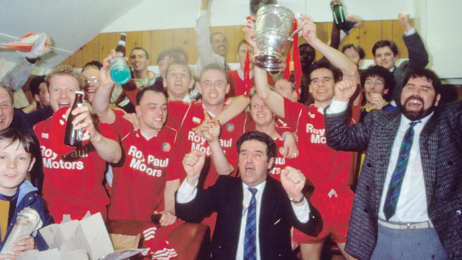 Party time: Portadown enjoy the moment after winning the Gibson Cup for the first time in their history in 1990