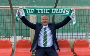 Dundela manager Colin Nixon gets used to his new surroundings at Wilgar Park.