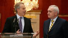 Former British Prime Minister Tony Blair, left, with outgoing Irish premier Bertie Ahern, right, during a meeting at Dublin Castle which forms part of a series of events to mark the 10th anniversary of the Good Friday Agreement.