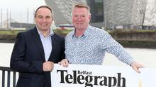 Jim Gracey (right) launches the Belfast Telegraph Sports Awards with Chris Nelmes, Boulevard Centre Manager (left).