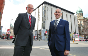 Grant Thornton has already agreed to take over the third floor at Danske Bank's Donegall Square West headquarters from November. Grant Thornton partner (left) Richard Gillan and Kevin Kingston of Danske Bank outside the offices earlier this year