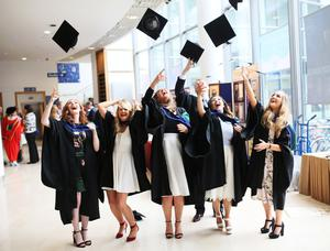 Students graduating from Ulster University Belfast today. Pic By Paul Moane