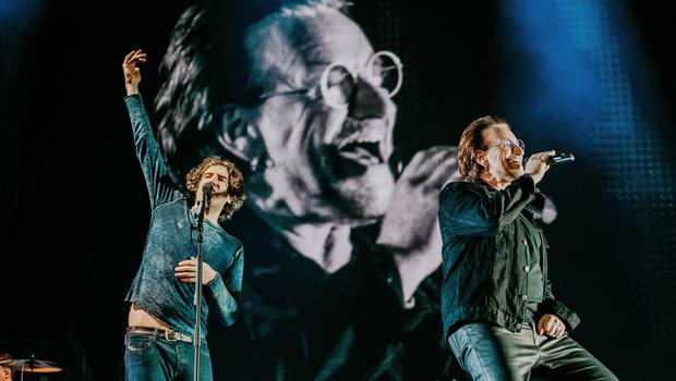 Sunday Life Bradley Quinn, Snow Patrol 25 Years in Pictures. Ward Park 3 - Garry & Bono May 2019