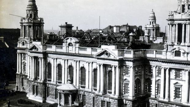 WORLD WAR II: BELFAST AIR RAIDS. CITY HALL. 4/5 May 1941. Belfast City Hall showing the roof above the Banqueting Hall, damged after an explosion. AR 43.