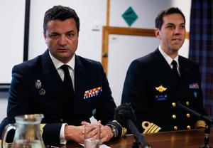 Rear Admiral Jose Enrique Delgado (left) speaks during a press conference aboard HMS Duncan, as four Nato warships have docked in Belfast after monitoring a Russian aircraft carrier through the North Sea and on to the Mediterranean. PRESS ASSOCIATION Photo. Picture date: Friday November 4, 2016. See PA story ULSTER Ships. Photo credit should read: Brian Lawless/PA Wire