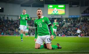 Corry Evans scored last time Northern Ireland faced Austria in the Nations League. The two sides could once again be placed together  in Tuesday's draw.