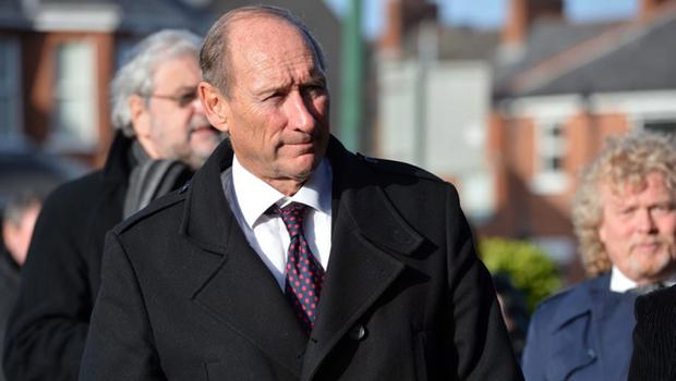 Former Northern Ireland international Terry Neill at the funeral of Malcolm Brodie at Cregagh Presbyterian Church (Stephen Davison/Pacemaker Press)