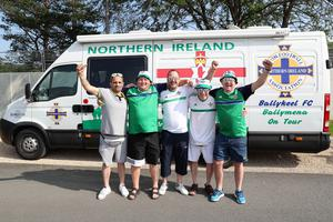 Northern Ireland fans Eddie McCullough, George McFall, Ian Thompson, Darren McDonald and Russell Bridgett pictured in Georges de Reneins, France ahead of their opening Euro 2016 game against Poland on Sunday. Press Eye - Belfast -  Northern Ireland - 09th June 2016 - Photo by William Cherry