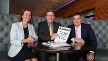 Sarah Little, publishing director, INM NI, Mark Thompson, A&L Goodbody with John Mulgrew, Ulster Business