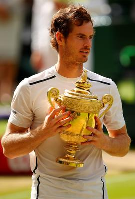LONDON, ENGLAND - JULY 10:  Andy Murray of Great Britain holds the trophy following victory in the Men's Singles Final against Milos Raonic of Canada on day thirteen of the Wimbledon Lawn Tennis Championships at the All England Lawn Tennis and Croquet Club on July 10, 2016 in London, England.  (Photo by Clive Brunskill/Getty Images)