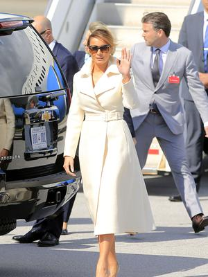 US First Lady Melania Trump pictured as she arrives at Shannon airport for the start of her visit to Ireland.  Picture; Gerry Mooney