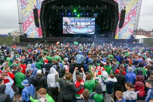 Press Eye - Northern Ireland - 16th June 2016  Fans gather in the Northern Ireland fan zone in association with Vauxhall at Titanic slipways, as Northern Ireland meet Ukraine in the Euros on June 16th.  Picture: Philip Magowan / PressEye