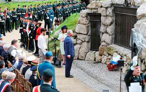 BEAUMONT-HAMEL, FRANCE - JULY 1: Prince Charles, Prince of Wales lays a wreath at the Beaumont-Hamel Newfoundland Memorial during a Ceremony of Remembrance hosted by the Government of Canada to mark the 100th anniversary of the start of the battle of the Somme on July 1, 2016 in Beaumont-Hamel, France. The event is part of the Commemoration of the Centenary of the Battle of the Somme at the Commonwealth War Graves Commission Thiepval Memorial in Thiepval, France, where 70,000 British and Commonwealth soldiers with no known grave are commemorated. (Photo by Niall Carson - Pool/Getty Images)