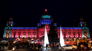 Belfast City Hall is lit up in the colours of the South African flag in tribute to Nelson Mandela. Pic Matt Mackey/Presseye