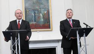 Pacemaker Press 18.11/08 The First and Deputy First Ministers Peter Robinson and Martin McGuinness's at their joint press conference at Stormont today. The DUP and Sinn Féin have come to an agreement on the devolution of policing and justice which will bring a 152-day deadlock at Stormont to an end. The executive will meet on Thursday 20 November and on a weekly basis until business is up to date, the first and deputy first ministers said. Pic Colm Lenaghan/ Pacemaker
