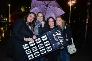 Fans of Adele(L-R) Nicola McKinney, Aisling Hill, Louise Hoy and Andrea Reilly from Lurgan patiently waiting to get into the SSE arena in Belfast for Monday's opening night of her world tour. Picture By: Arthur Allison/Pacemaker Press