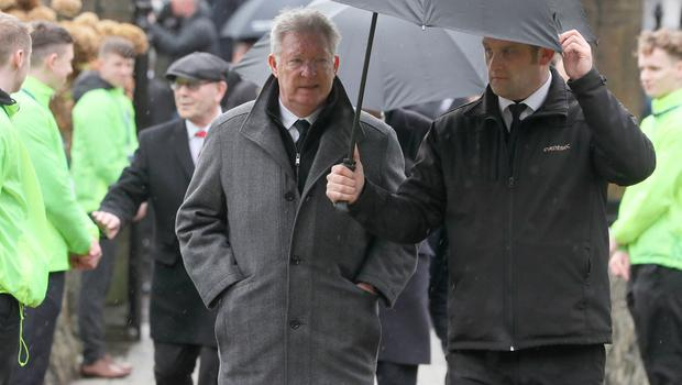 Sir Alex Ferguson arrives for the funeral of former Manchester United and Northern Ireland goalkeeper Harry Gregg. Pic: Brian Lawless/PA Wire