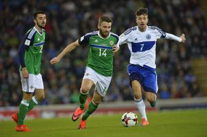 PACEMAKER BELFAST   08/10/2016 Northern Ireland v San Marino World Cup Qualifier Group C Northern Ireland's  Stuart Dallas and San Marino's Matteo Vitaioli  during this evenings game at the National Stadium in Belfast. Photo Mark Marlow/Pacemaker Press