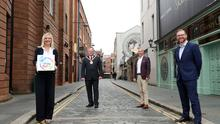 Belfast City Council chief executive Suzanne Wylie, Colin Neill, chief executive of Hospitality Ulster, Lord Mayor of Belfast, Frank McCoubrey and chief executive of Belfast Chamber of Commerce, Simon Hamilton