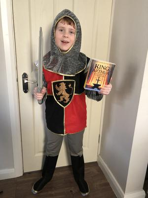 Fraser Rennie (8) from Bangor is dressed up as a Knight of the Round Table.
