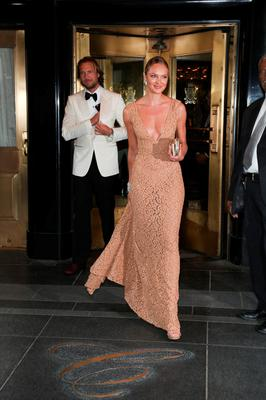 NEW YORK, NY - MAY 04:  Candice Swanepoel departs The Carlyle Hotel to attend the MET Gala 2015 on May 4, 2015 in New York City.  (Photo by Rob Kim/Getty Images  for The Carlyle)