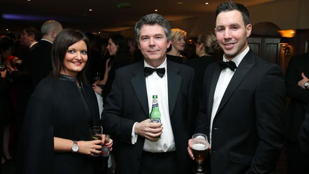 Emma Murray, Declan Canavan and Paddy Wallace at the Institute of Directors NI Annual Dinner at the Europa Hotel on Thursday night. Sponsored by Bank of Ireland and Arthur Cox, the event is the highlight of the local business calendar and was attended by over 250 people.  Picture by Kelvin Boyes / Press Eye.