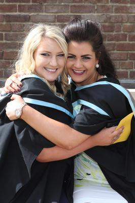 Alisha Donnelly, The Brantry, Dungannon and Danielle Duffin, Moneyglass, who graduated from Queen's in adult nursing. Photo/Paul McErlane