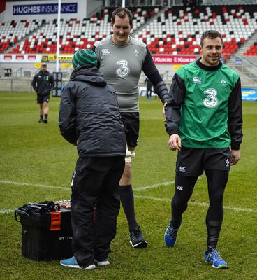 ?Russell Pritchard 5th March 2015 Ireland holding an open training session today  for the first time since the redevelopment of the Ground at Kingspan Stadium, Ravenhill Belfast today.  Devin Toner and Tomy Bowe ?Russell Pritchard / Presseye