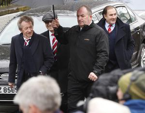 Denis Law  at the funeral of former Manchester United and Northern Ireland goalkeeper Harry Gregg takes place at St Patrick's Church in Coleraine. Enroute to the sevice the cortege stopped at Coleraine showgrounds. Picture Colm O'Reilly Sunday Life