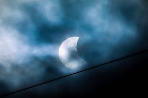 Pictured is the Solar Eclipse on Friday 20th March 2015 as seen from the Castlereagh Hills in Belfast, Northern Ireland.  Picture - Kevin Scott / Belfast Telegraph